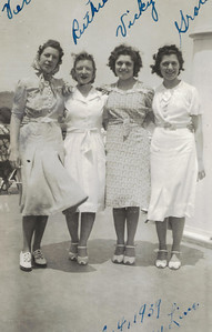 Vera Malinowski, Ruth McGrath, Vicky Rigone and her sister Grace.  Day trip on a boat from Albany to Kingston. in 1939