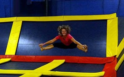 We went to sky high in Spokane. I had fun jumping on the trampoline  I was  practicing my cheerleader poise. Sept 2013