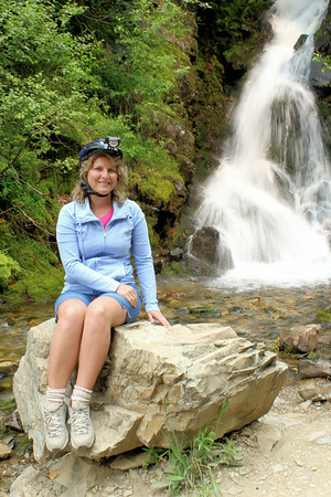 Me by the waterfall at the Hiawatha trail. July 2014