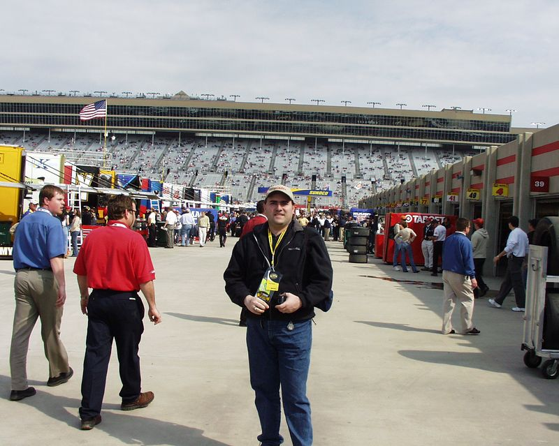 """This is the garage area during the Spring NEXTEL Cup race at Atlanta Motor Speedway in 2004.  I was part of a """"behind-the-scenes"""" tour before the race."""