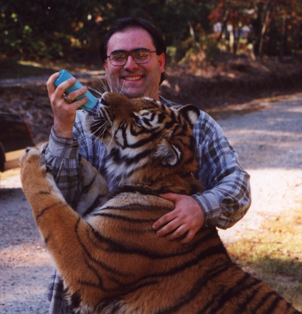 "In October, 1999, Jim Fowler (Mutual of Omaha's ""Wild Kingdom"") gave me the chance to get up close and personal with this 6-month-old Bengal Tiger at the Autrey Mill Nature Preserve's ""Wild Weekend"" special presentation."