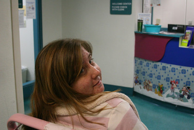 Mommy Megan getting ready to go into the neonatal intensive care unit to visit baby