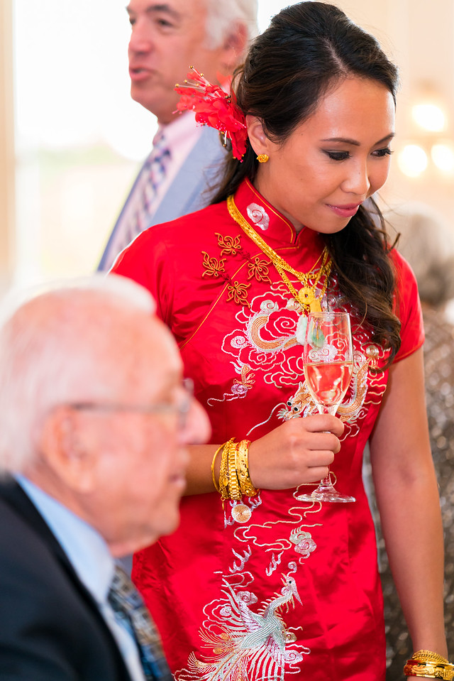 Melanie in her mom's traditional wedding dress