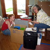 Unpacking art supplies... Melanie and Linda are a great team, too!