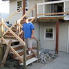 4/25/08 -- Brian was a great help in getting the stairs and railings shored up and ready for balusters.