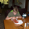 Drew getting a second helping of bugs after we returned from floating the SouthFork river.