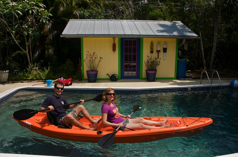 Lee & Erin have discovered way to make their kayak hover a few inches above water