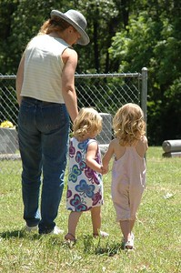 Karen, Mary, and Madelynne go for a walk.