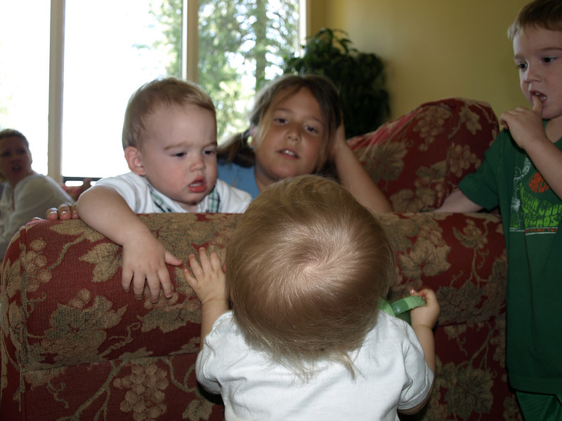 Here are a few of the cousins. Rustin (15 mon.), Riley 8, Rayne 3, and Cody 13 months.