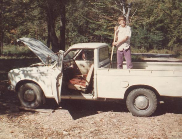 Dads Datsun Pickup. The truck I learned how to drive in. I loved this truck and put many miles back in the woods behind the Sportsmen Club driving this thing. This had to be around 1974.