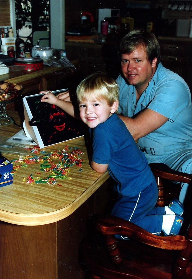 Luke and Dad playing Lite Brite!