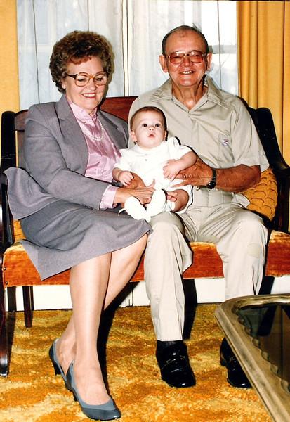 Luke with his grandma and grandpa Humphries
