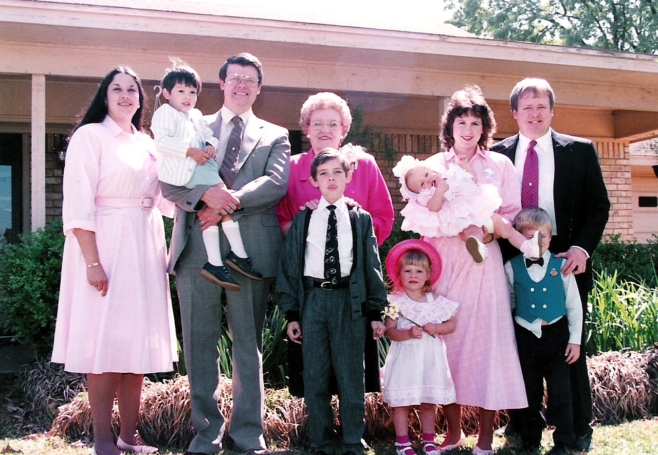 Humphries brothers families!  Left to right - Lee Ann, Curt, Jeff, Grandma (Edith) Chad, Sarah Jane, Katie Brooke, Mary Jane, Ronnie and Luke. These were some happy times.  Wish I could live these days again. A Happy picture for me.