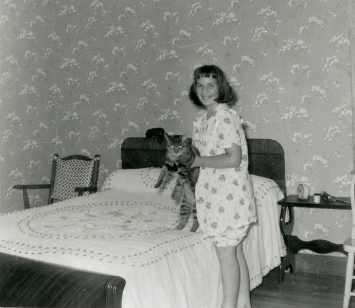 1950's Carol and her cat Peter