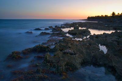 Tidal pools at sunset.