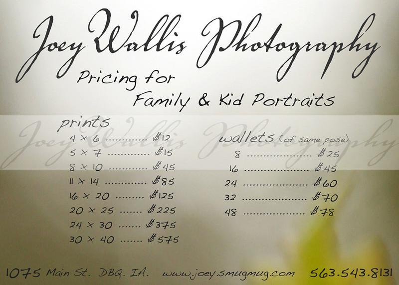 fam & kid price sheet