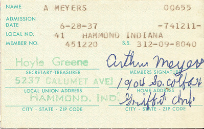 Arthur Meyers - Union Dues Card
