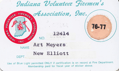 Art Meyers - Indiana Volunteer Firemens Assoc  Membership Card - 1976-77