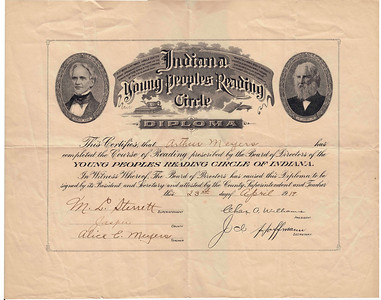 Arthur Meyers - Ind  Young Peoples Reading Circle Diploma - April 23, 1919