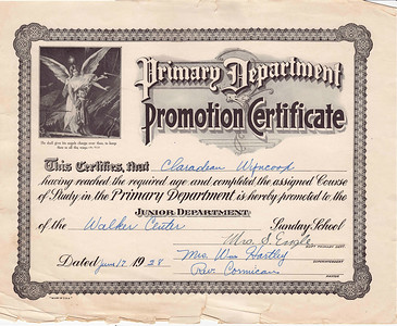 Claradean Wyncoop - Primary Department Promotion Cert  - June 17, 1928
