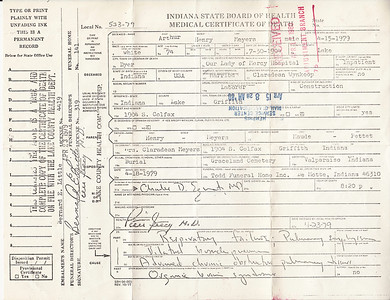 Arthur Meyers - Death Certificate - April 15, 1979