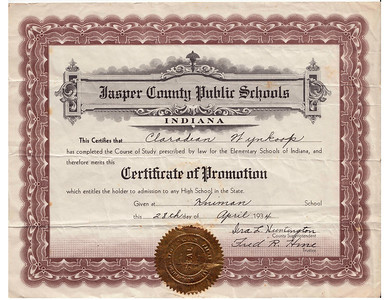 Claradean Wynkoop - Certificate of Promotion - April 28,1934