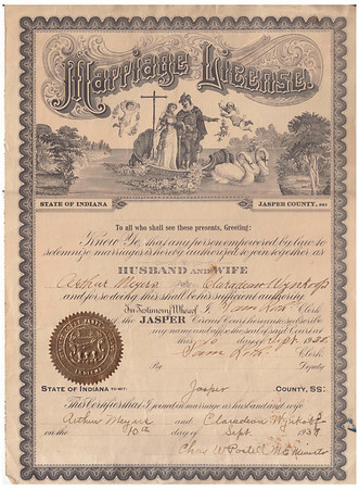Marriage License - Arthur Meyers & Claradean Wynkoop - Sept  10, 1938