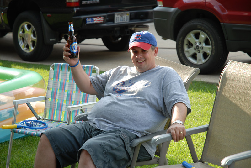 My sister Chrissy's husband Bob enjoying a cold one in the shade at my dad's house in July.