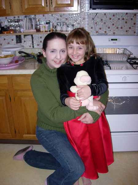 "Christmas at Mom's house with ""Sister Mary Frances"" and daughter Rachel (and quacky duck)."