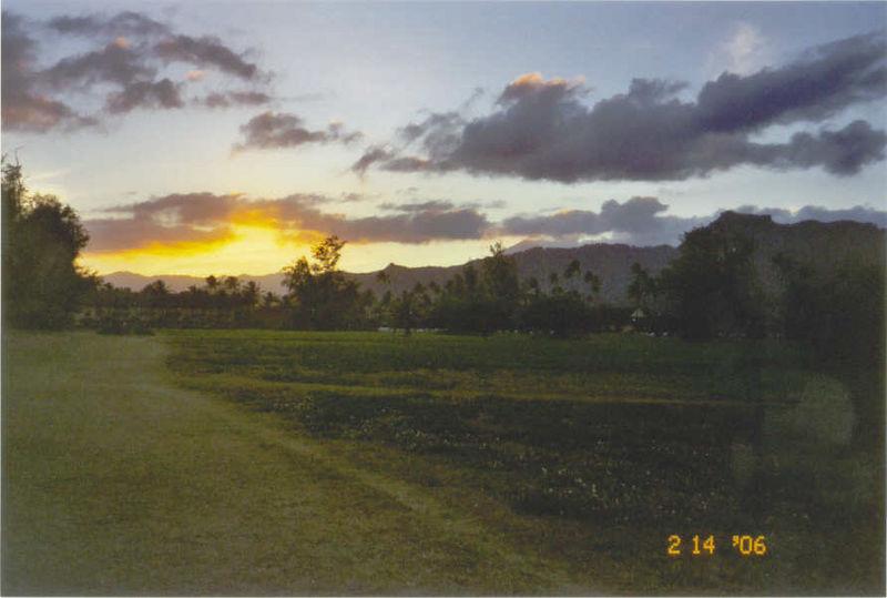 Kaua'i sunset, from field outside our hotel room balcony 2-14-06
