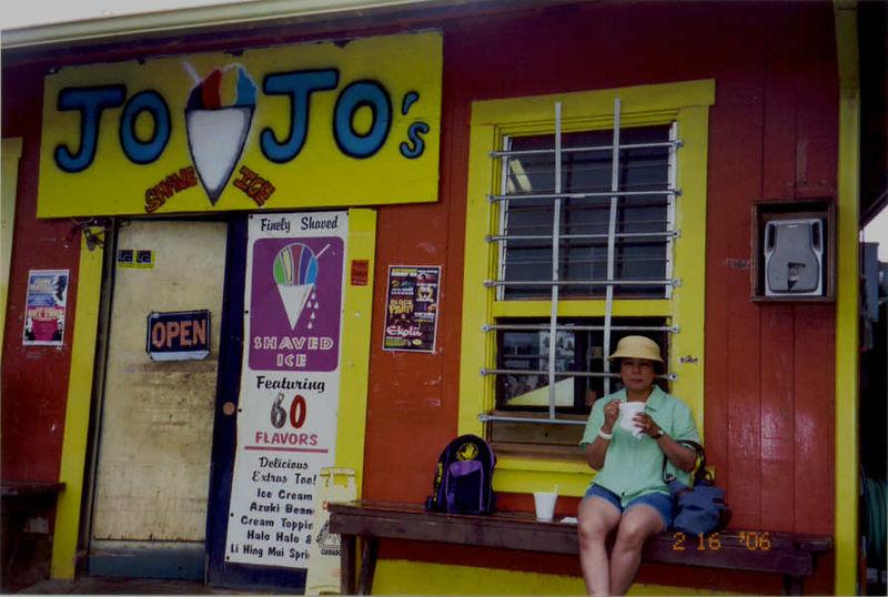 00012A Enjoying rainbow shave ice, Jo-Jo's Clubhouse, Waimea Town 2-16-06