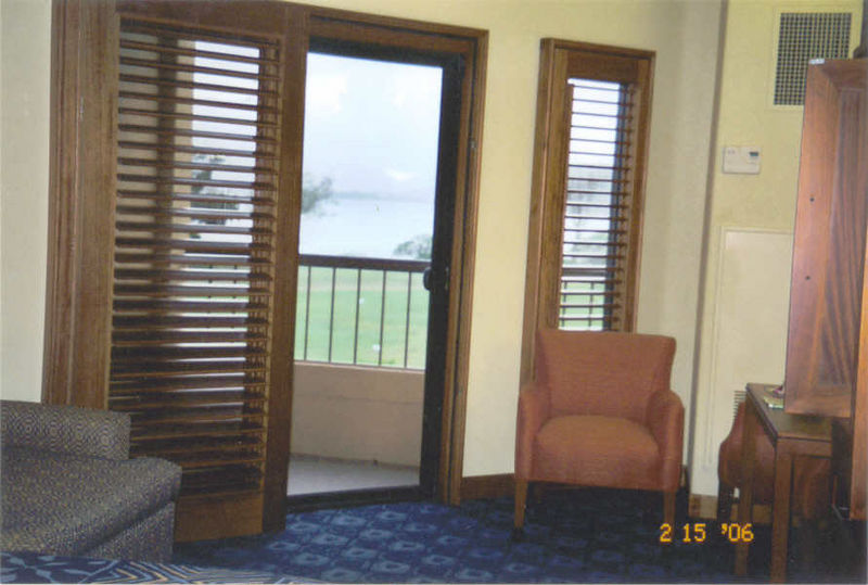 Our room at Marriott Courtyard at Waipouli Beach, overlooking green fields and ocean 2-15-06