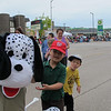 Jonathan and Alex with one of the live characters before the parade.