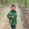 Jonathan carries a stick everywhere on the hike.