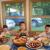 Carter, Jonathan and Alex enjoy a meal of Korean galbi.