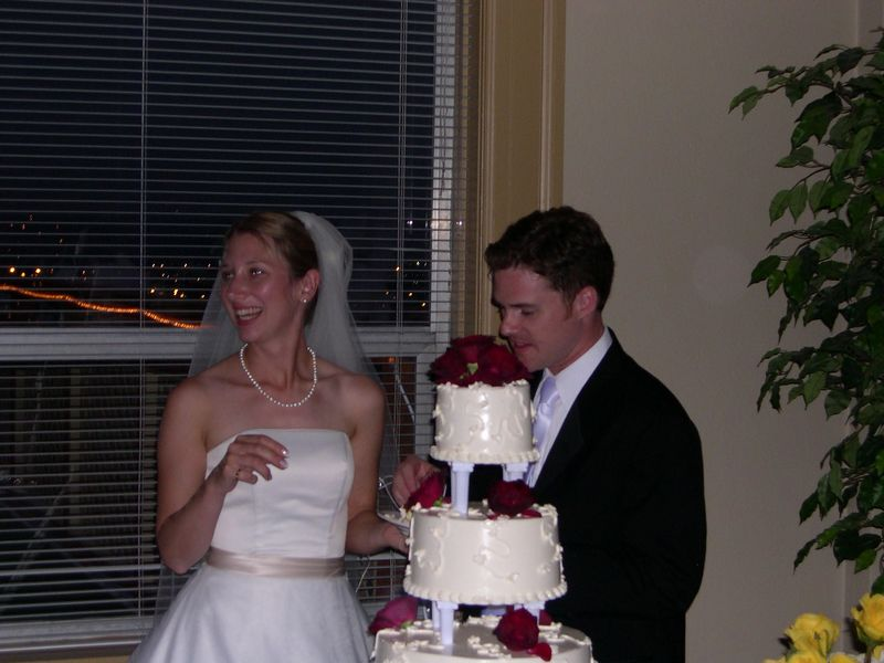 Liona and Mike prepare to cut the wedding cake