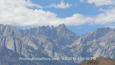 This is a Lone Pine webcam photo of Mt. Whitney, taken on Sunday, during their 1st day's climb