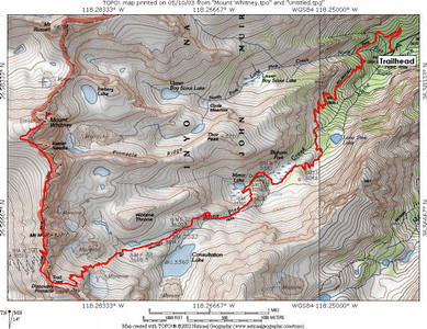 This is a topographic map showing the popular Mt. Whitney trail in red.  After getting their permits, Mike and Rich drove to the Whitney Portal trailhead and hiked to the Miner Lake area for their Sunday camp