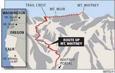 This is the popular trail route that Mike and Rich planned to hike to the summit
