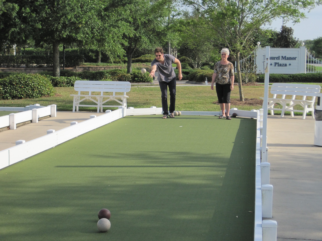 Mon and Mike's attempt at bocce ball.  :)