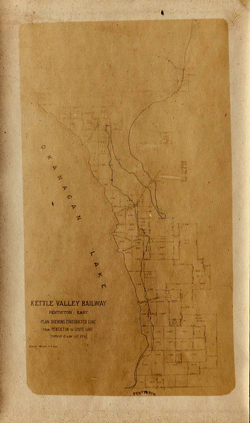 Map, Kettle Valley Railway, Penticton East, British Columbia