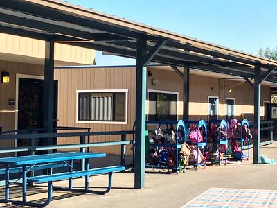 Coat room/locker for Allegra's classroom (on left).