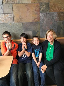 Grandma with the silly boys at Dunkin Donuts in Norwich
