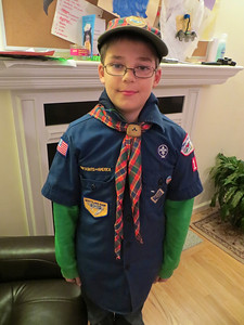 Austin leaving for his Cub Scouts meeting