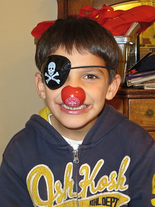 A pirate with a clown nose!