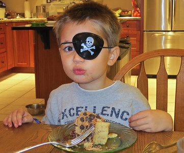Another pirate eating his birthday cake