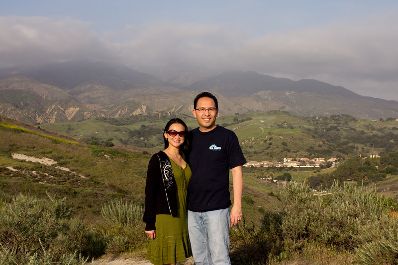 Catherine and I in front of a hazed out Saddleback Mountain