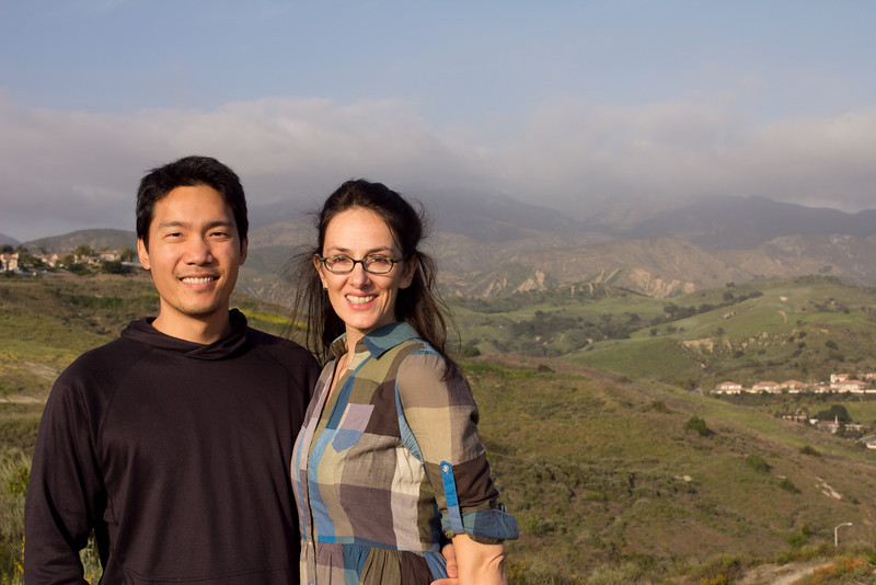 Cousin Minh and Melissa in front of a hazed out Saddleback Mountain
