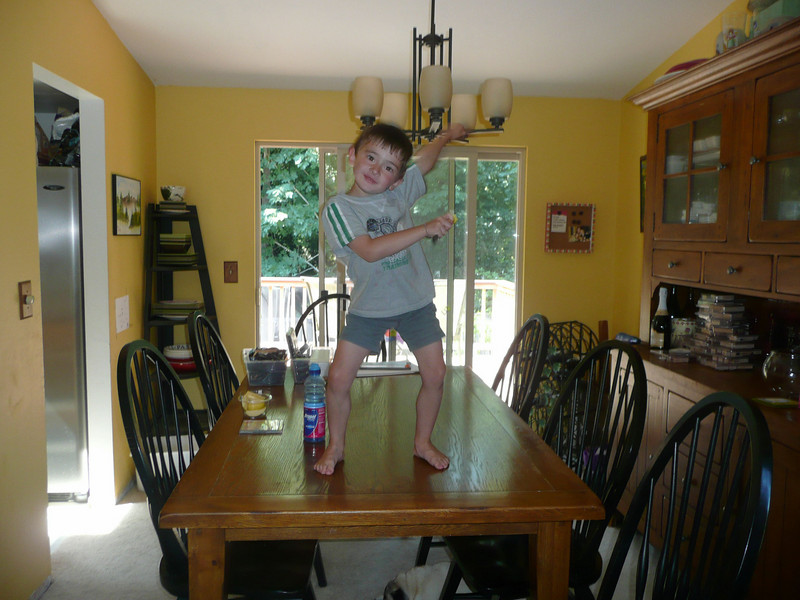 this is what happens when you don't pay attention to your children.  they start dancing on tables to get attention.  =)