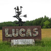 After lunch on Tuesday, June 8, we head for the little town of Lucas, which is north of I-70, maybe an hour's drive or so from Hays.  Lucas is one funky little burg, a hotspot for folk art of amazing diversity.